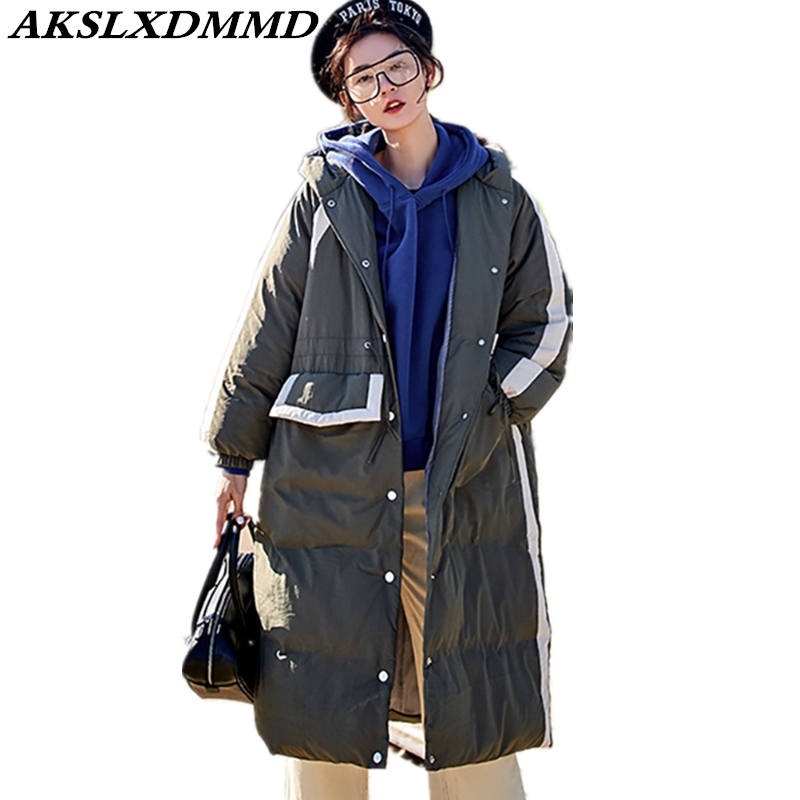 2019 New Women Winter Jacket Warm Thicken Loose Large Size Long Cotton Coat Fashion Original Solid Hooded   Parka   Outerwear CW122