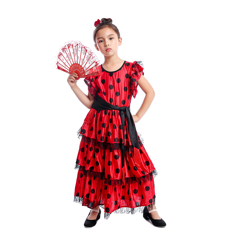 Spanish Senorita Girls Traditional Flamenco Dancer Kids Fancy Dress Costume
