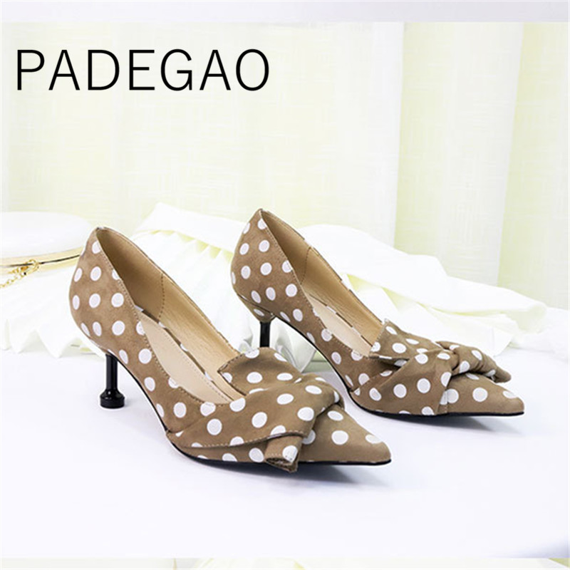 Kitten-Heels-Pumps High-Heel-Shoes Luxury Pointed-Toe Sexy Women New Dot Arrivl