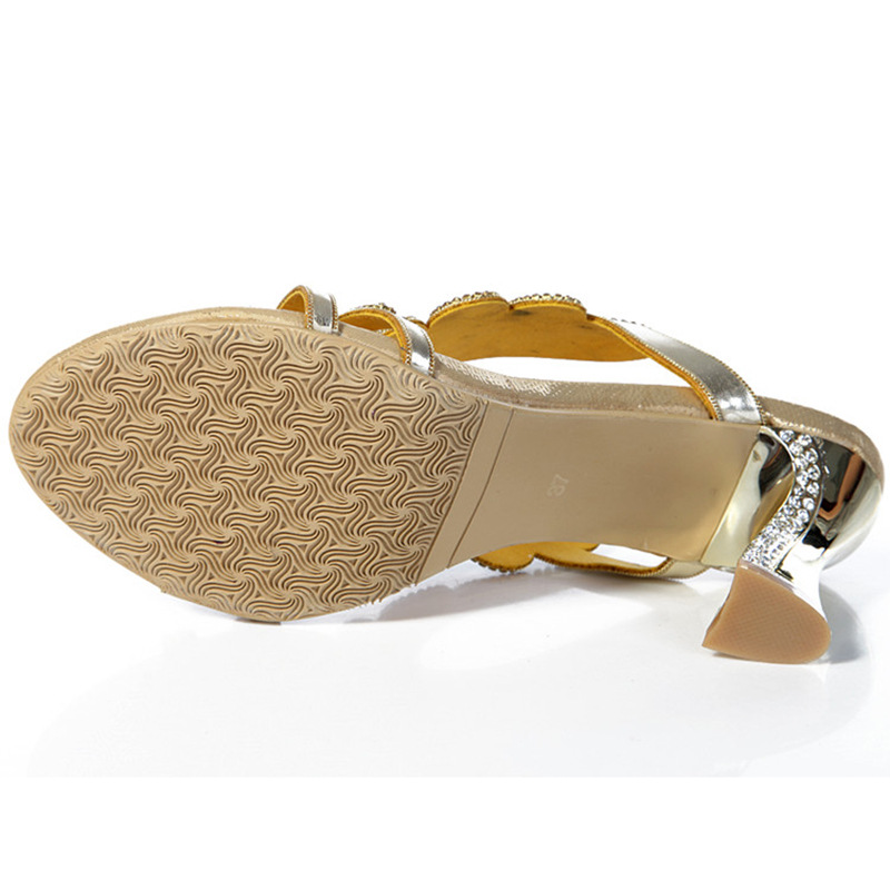2017 New Golden Luxury Diamond High Heels Slippers Online Shopping Peep Toe  Women s Shoes Sandals Sale High Quality-in Slippers from Shoes on  Aliexpress.com ... 06d2f670ccbc