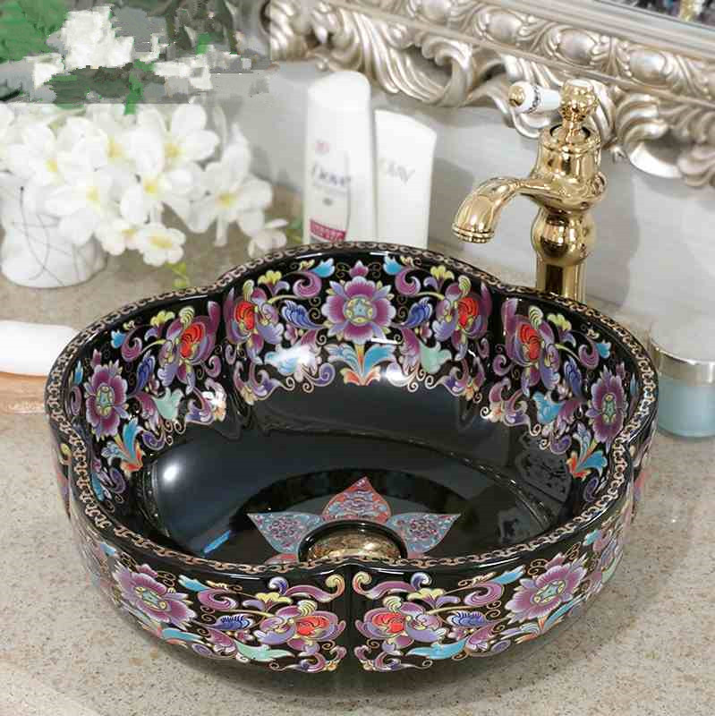 Flower shape porcelain bathroom vanity bathroom sink bowl countertop Round Ceramic bathroom sink wash basin
