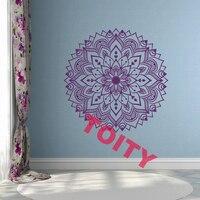 Flower Mandala Yoga Art Vinyl Wall Decal Decor Home Bedroom Dorm Removable PVC Self Adhesive BOHO Wall Sticker 57x57CM 40 Colors