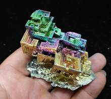 The picture of real sale 171 gram Bismuth rainbow crystal element Bi gemstone Mineral specimen B71-487(China)