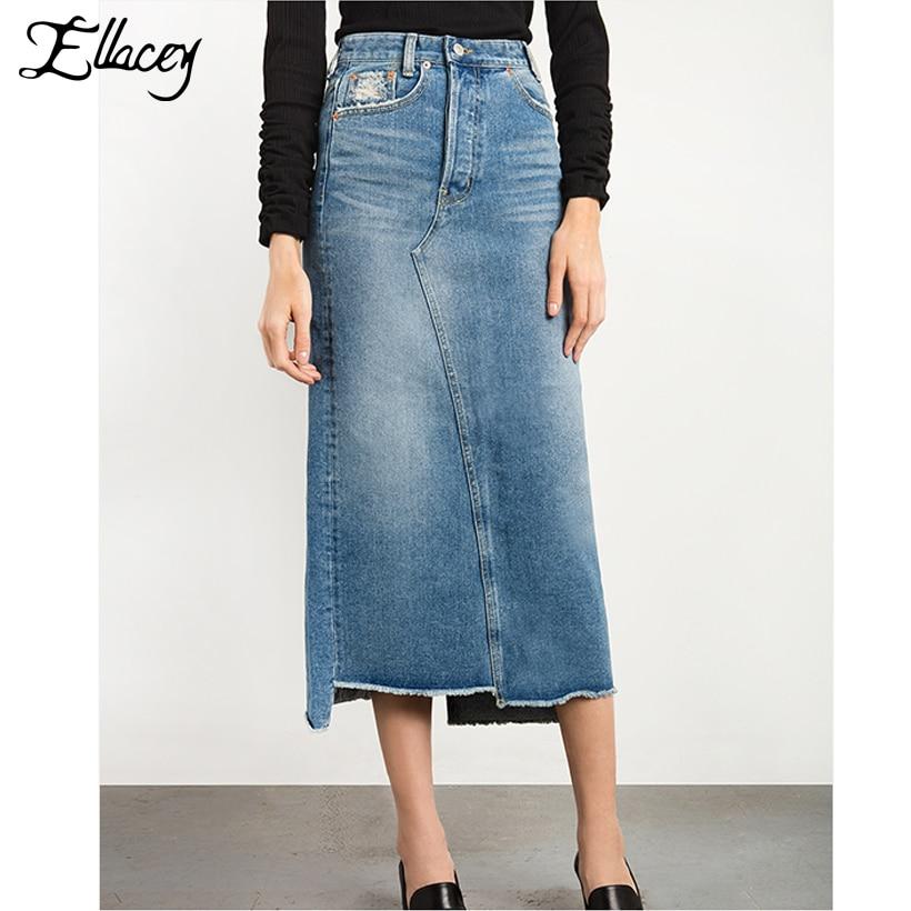 16c7cbab978bbe Nouveau 2018 été mode Denim jupe femmes Slim décontracté Vintage ...