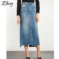Nuevo 2017 de moda de verano falda de mezclilla mujeres casual vintage agujero vaqueros falda de mezclilla señoras de split falda larga azul de gran tamaño