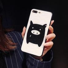 IMIDO New Pig Diamond Pattern TPU Silicone Case For iphone 6/7/8/X /Xs/ Xsmax/Xr Cute Cartoon Anti-fall Fashion Phone Cases