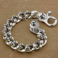 6 Length Heavy 925 Solid Sterling Silver Skulls Mens Biker Rocker Punk Bracelet 8F009 Free Shipping