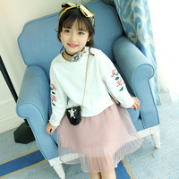 Children's Garment 2017 Autumn Girl Embroidered Easy Long Sleeve Pink Colour Skirt Suit Girl Sweet 2 Pieces Kids Clothing Sets
