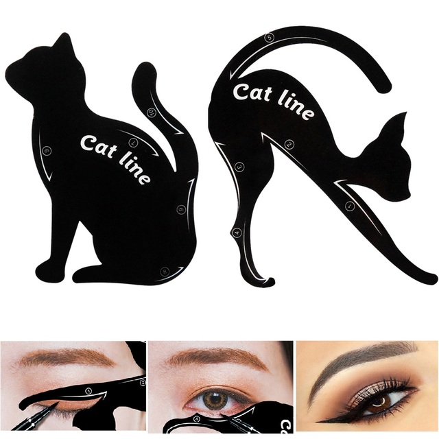 Cat Eye Fish Tail Double Wing Eyeliner Stencil Eyeliner Stencil Models Template Shaping Tools Eyebrows Template Card DIY Beauty