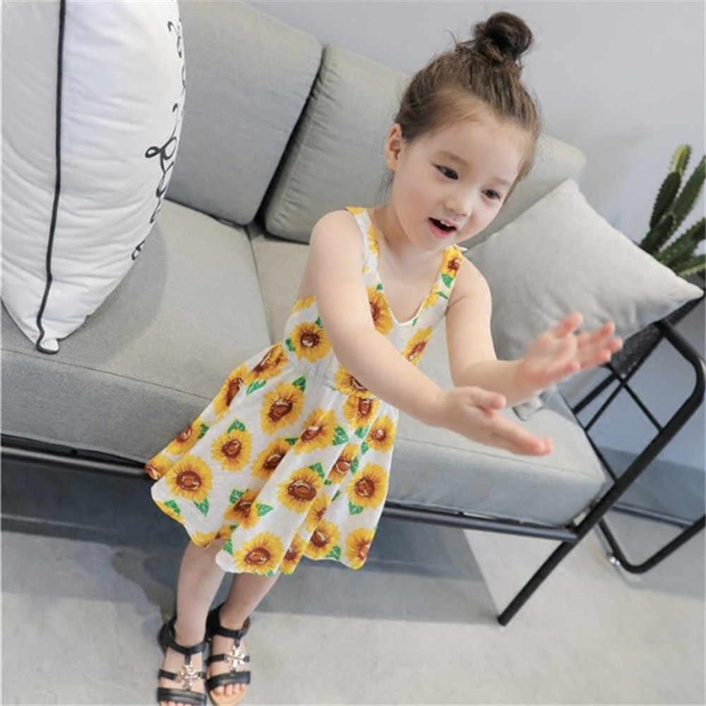ชุดเด็กทารกเด็กผู้หญิงเด็กวัยหัดเดิน Sunflower พิมพ์ Backless ดอกไม้ชุด 2-6 ปี Dropshipping L #