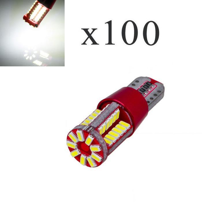 100Pcs T10 12V 57SMD 3014 15W 6000K Car From Canbus Led Light-Emitting Diodes Independent Led Bulb No Errors Univ era Auto Lamp