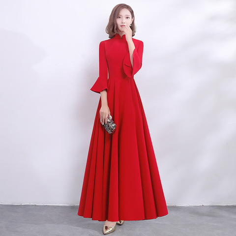 b5d6b2a1d Chinese Red Solid Women Cheongsam Asian Bride Wedding Evening Party Dresses  Mandarin Collar Long Qipao Elegant ...