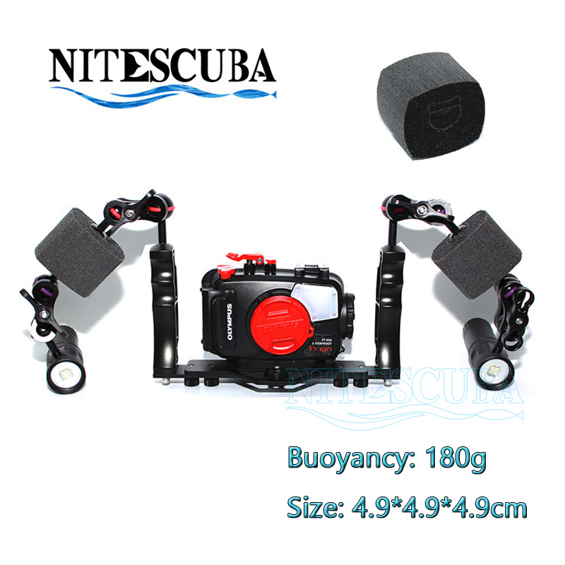 NiteScuba Diving float buoyancy block for strobe light& tg4 TG5 Rx100 Gopro Canon Nikon camera housing underwater photography scuba dive light