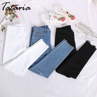 White Skinny Jeans Woman With Holes Slim Pencil Denim Pants Ripped Jeans For Women High Waist