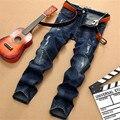 2017 jeans stretch skinny slim homens denim blue jeans rasgado calças de alta qualidade venda quente dos homens calça jeans motociclista moto