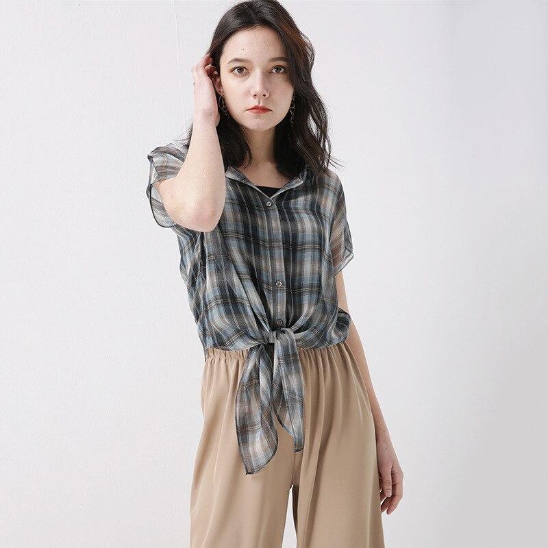 PIXY Summer Grey 100% t shirt à lacets en soie t shirt décontracté lâche Plaid dames hauts grande taille femmes vêtements de luxe à manches courtes arc - 5