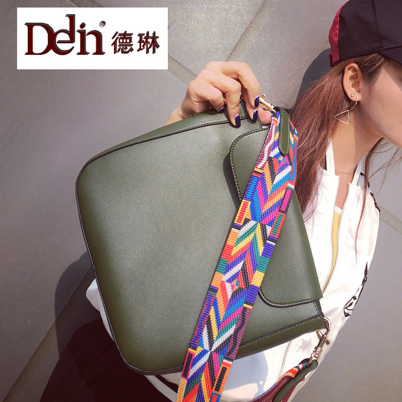 цена  DELIN  sale wholesale handbag 2017 new national wind colour straps steamed stuffed bun female bag PU single shoulder bag  онлайн в 2017 году