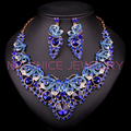Fashion Jewellery Dubai Crystal Necklace Earrings Bridal Jewelry Sets For Brides Party Wedding Accessories Decoration LF00104