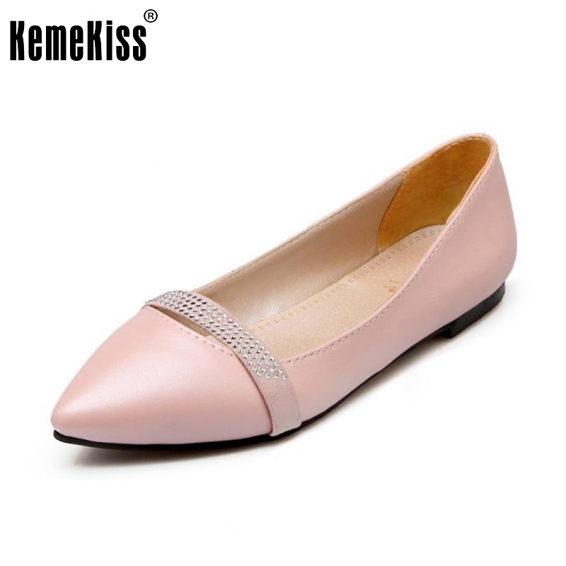 Size 30-49 Ladies Flat Shoes Women Slip-On Pointed Toe Flats Casual Office Rhinestone Shoes Simple Lady Comfortable Shoes beyarne spring summer women moccasins slip on women flats vintage shoes large size womens shoes flat pointed toe ladies shoes