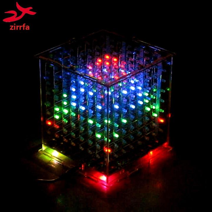 Zirrfa Diy 3d 8s Multicolorido Mini Luz Cubeeds Excelente Animação 3d8 8x8x8 Display, Presente De Natal Led Kit Eletrônico Diy