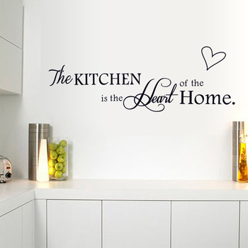 The Kitchen Is The Heart Of The Home English alphabet Black DIY Removable Wall Stickers Kitchen Home Decor Mural Decal Hot sale