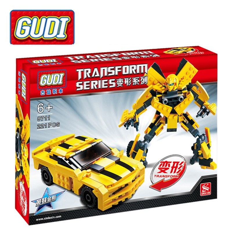 Gudi 8711 221pcs Transform Series Bumblebee Building Blocks Model Toys Robot 2 In 1 Vehicle Sports Car Christmas Gifs for kids transformers маска bumblebee c1331