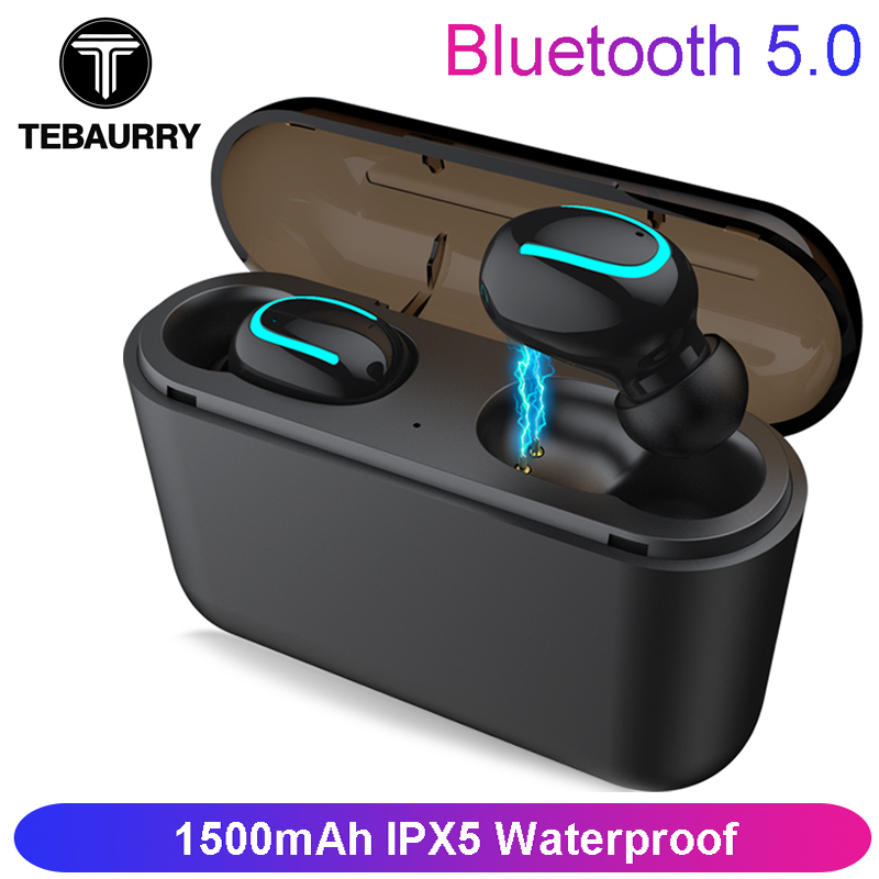 TEBAURRY Bluetooth Earphones 5.0 TWS Mini Wireless Headset Stereo Deep Bass Earphone with charging box 1500 mAh Power bank (China)