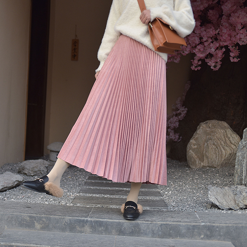 19 Two Layer Autumn Winter Women Suede Skirt Long Pleated Skirts Womens Saias Midi Faldas Vintage Women Midi Skirt 59