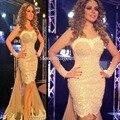 Fares árabe Cantante Myriam Vestidos de la Alfombra Roja 2017 Sirena Del Amor de Tulle Perlas Famosa Imitación Vestidos De La Celebridad