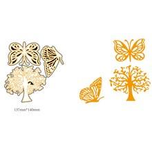 AZSG Butterflies in Trees Cutting Dies For DIY Scrapbooking Card Making Decorative Metal Die Cutter Decoration