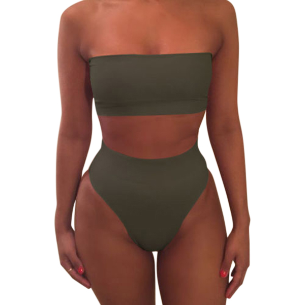 Newly 1 Set Women Swimsuit Swimwear Bikini Solid Color Fashion Breathable for Beach Holiday m99 4