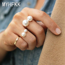 MYHFKK 2019 best-selling fashion jewelry ladies ring street shooting accessories imitation pearl ring adjustable ring JZ001(China)