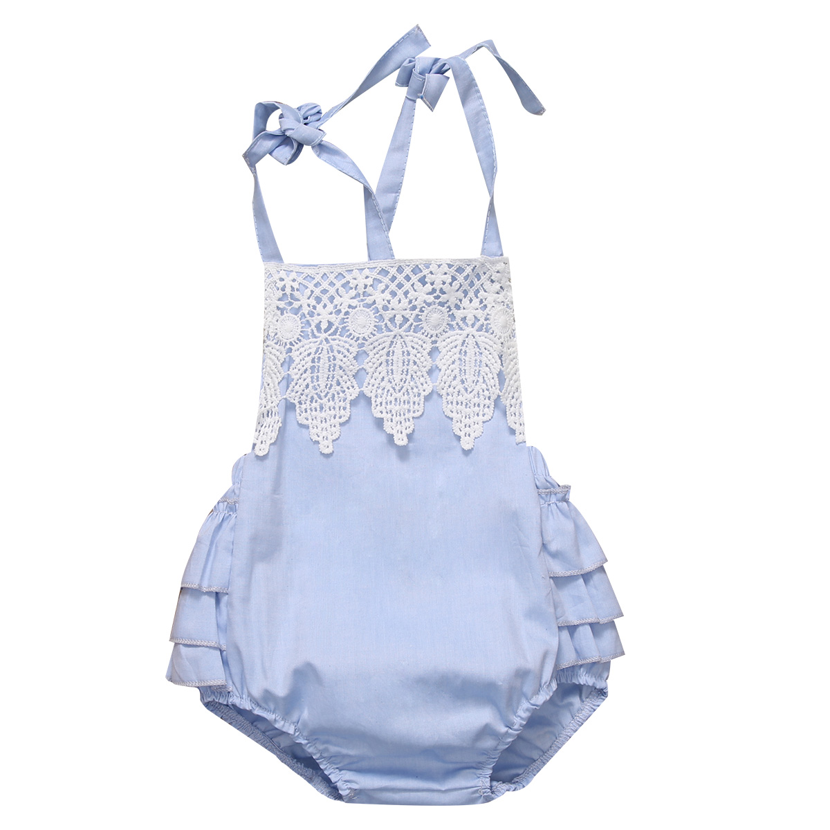 Helen115 Lovely Newborn Baby Girls Blue Flower Sleeveless Leak Back Cotton Bodysuit 0-24M