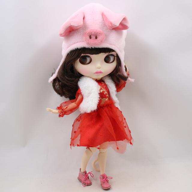 نئو Blythe عروسک سال نو لباس با کلاه خوک