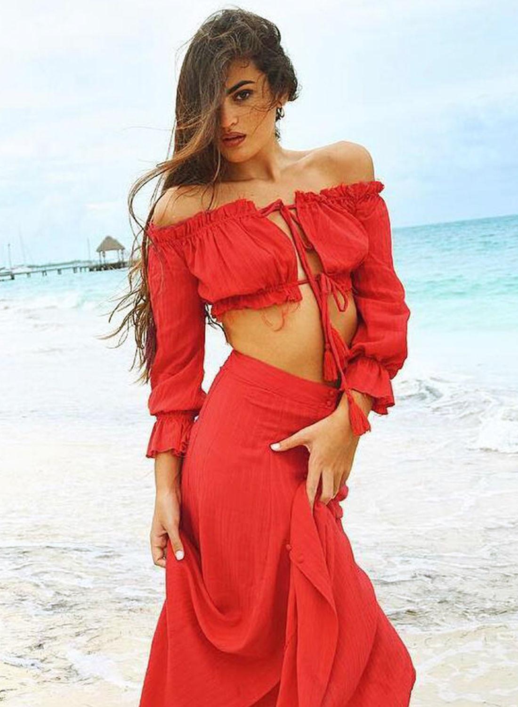 HTB1laTSQVXXXXcEaXXXq6xXFXXXo - 2PC Women's Summer Sexy Tassel  Boho Ruffles Button Split Dress Off Shoulder Long Maxi Cocktail Party Dress