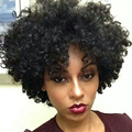 Puffy Black Full Lace Wigs for African Woman Short Kinky Curly Hair pieces Heat Resistant Hair Headwear for the Black