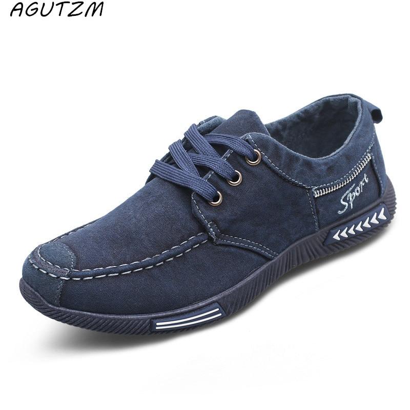 Zapatos de hombre de lona AGUTZM de mezclilla con cordones para Hombre Zapatos casuales nuevos 2017 Plimsolls transpirable calzado masculino primavera otoño