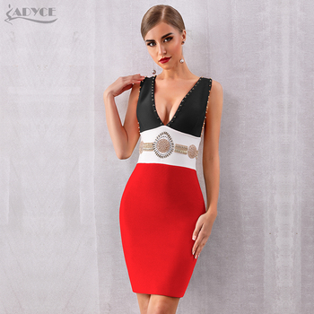 V-Neck Tank Sleeveless Beading Bodycon Celebrity Party Dress