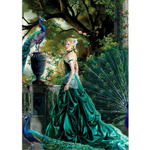 The peacock and woman 5d diy diamond painting cross stitch of  embroidery mosaic decoration gifts
