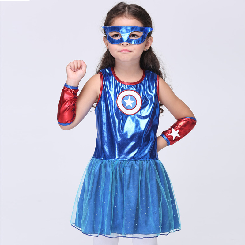 Superhero Halloween Costume For Girls Blue Sleeveless Cosplay Performance Dance Show Fancy Costumes Girl Clothing Children Dress blue indian luxury headpieces king queen unisex cosplay costumes diamond feather headdress for women and men peagents carnival