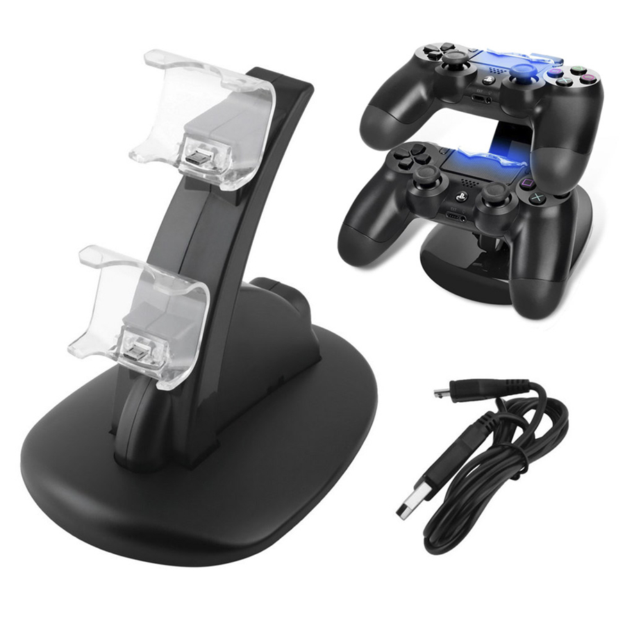 For ps4 Dual USB Charger Dock Stand for Sony PS4 Playstation 4 Controller LED Controller Charging Stand for ps4 Game AccessoriesFor ps4 Dual USB Charger Dock Stand for Sony PS4 Playstation 4 Controller LED Controller Charging Stand for ps4 Game Accessories