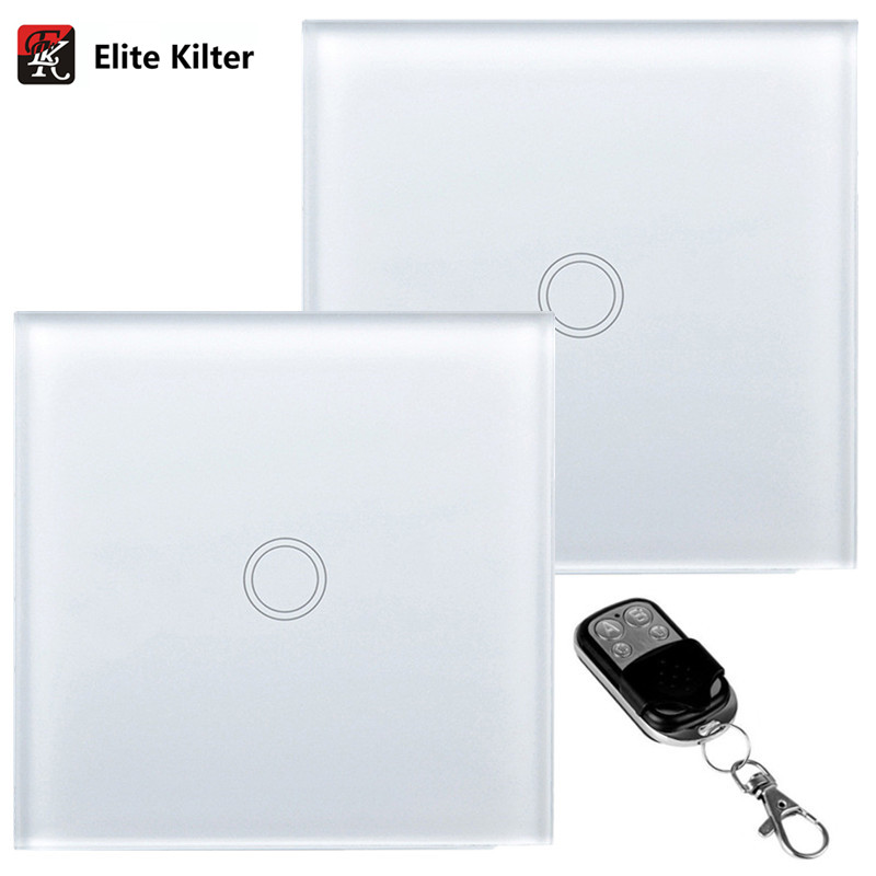 Elite Kilter Wall Lights Touch Switch 1 Gang 2 Ways Luxury Crystal Glass Switch Panel Single FireWire EU/UK Standard elite kilter remote control touch switch 3 gang 1 way eu uk standard crystal glass panel smart touch wall light switch