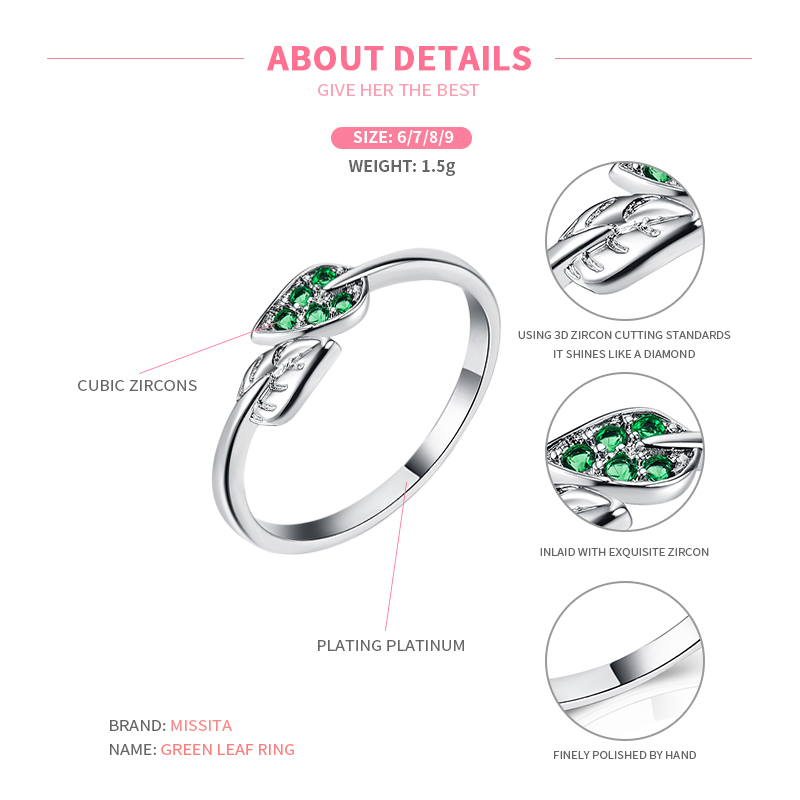 MISSITA 925 Sterling Silver Romantic Green Leaf Rings For Women Wedding Gift with Stackable Zircon Ring Brand Jewelry in Engagement Rings from Jewelry Accessories