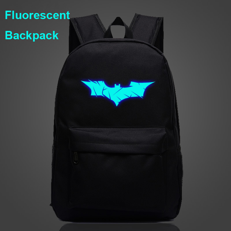 Fluorescent Luminous Comic Batman Mask Bat Boy Girl School Bag Women Bagpack Teenagers Schoolbags Canvas Men Student Backpacks