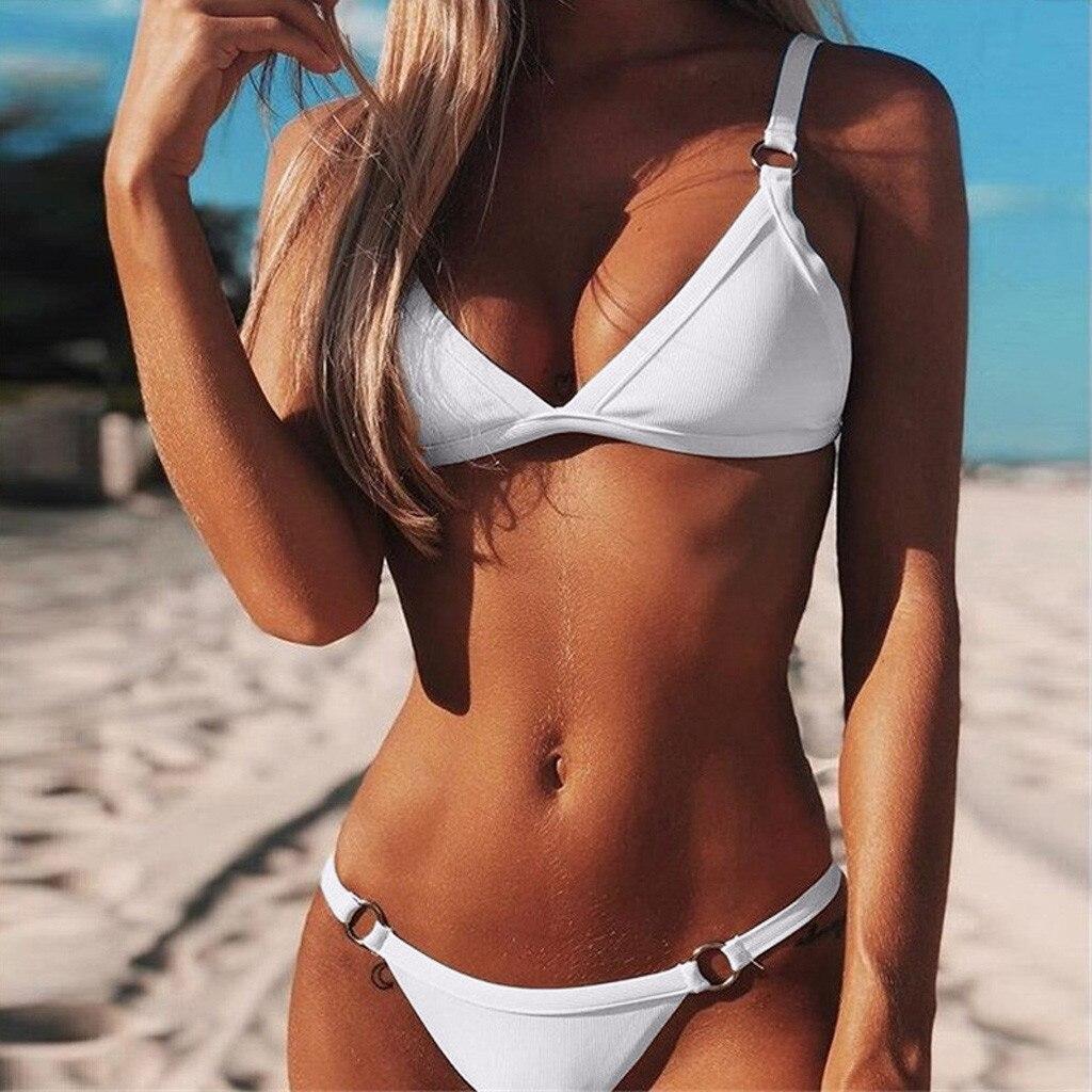2019 летний женский бандаж бандо однотонный бикини пуш ап бразильский купальник пляжная одежда новый сексуальный Повседневный женский купальник
