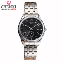 CHENXI Brand Top Luxurious Stainless Steel Gentleman Watch Silver Calendar Quartz Man Wristwatch Fashion Gift Clock Male Watches