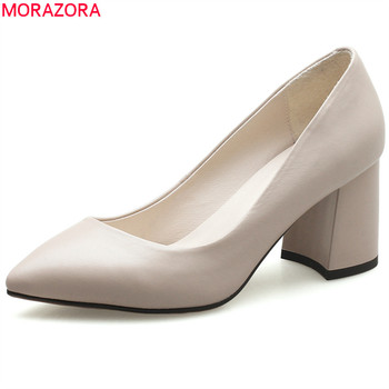 MORAZORA new fashion 2020 pumps women shoes pointed toe shallow genuine leather high heels square heel slip on woman shoes