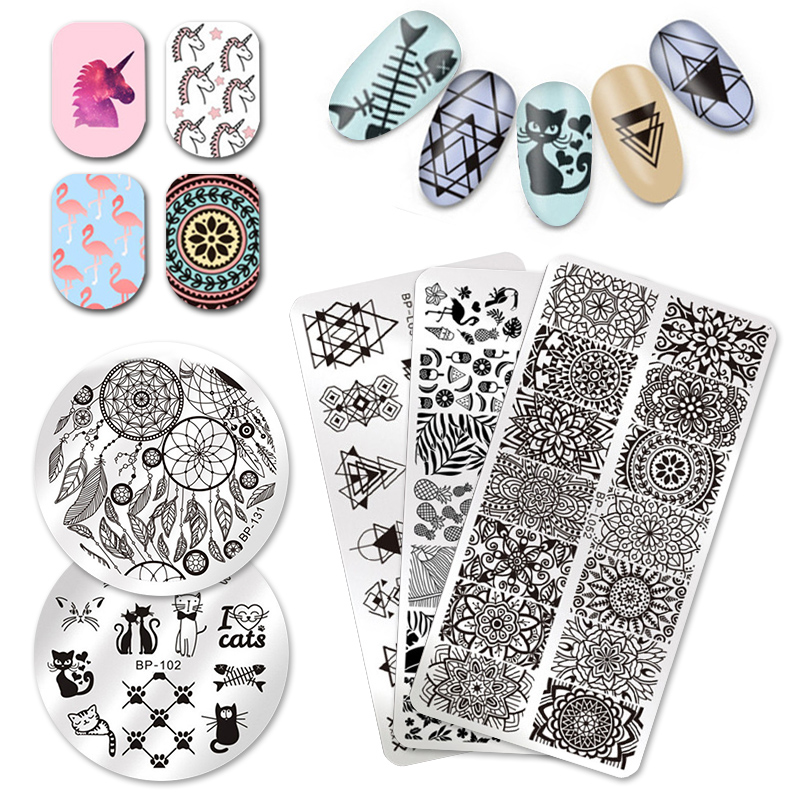 BORN PRETTY Nail Stamping Plate Animal Flower Rose Lace Geometry Stamp Template Nail Art Image Plate Stamping Polish Stencil DIY