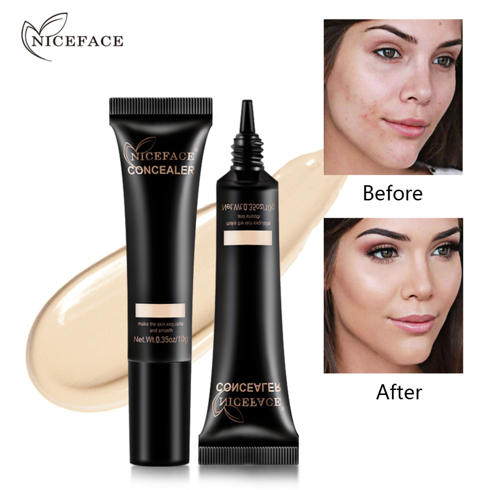 NICEFACE 4 Shades Liquid Face Concealer Oil Free Moisturizing Full Coverage Blemish Corrector Concealing Foundation image