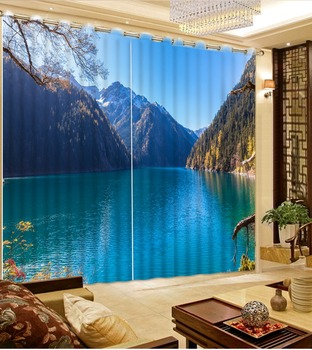 Bedroom Living Room Kitchen Home Textile Luxury 3D Window Curtains blue lake mountain